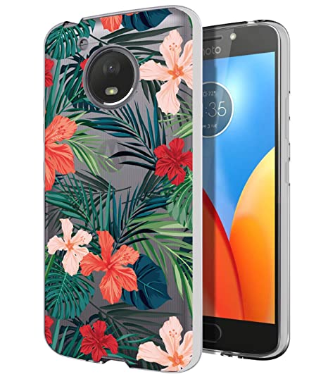 on sale f8054 28db6 Moto E4 Case, Moto E4 with Flowers,BAISRKE Slim Shockproof Clear Soft  Flexible TPU Back Cove for Motorola Moto E4 / Moto E (4th Generation) [Palm  Tree ...