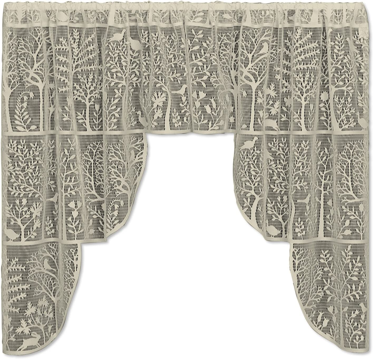 """Heritage Lace Rabbit Hollow Swag Pair, 72"""" by 39"""", Cafe"""