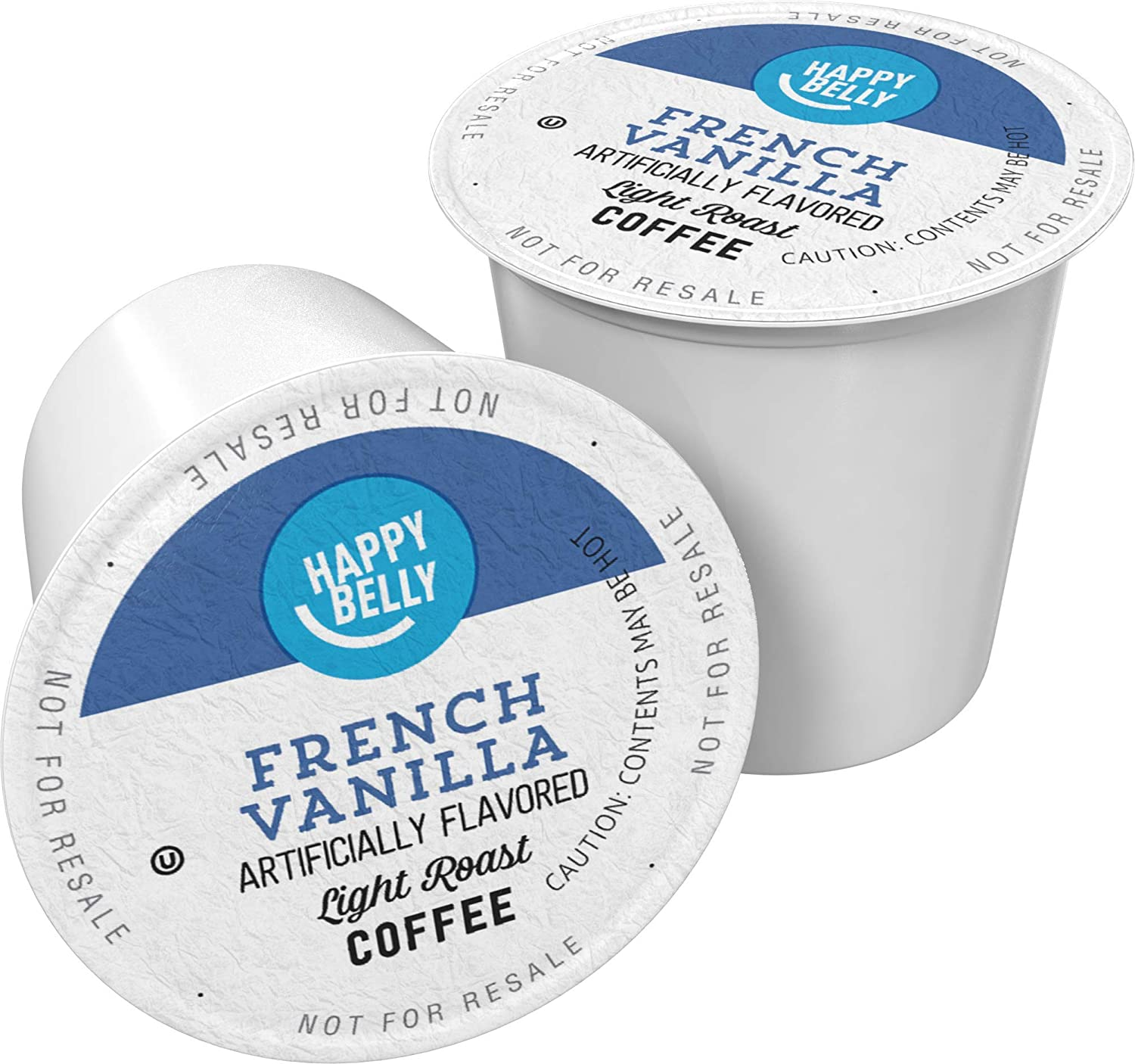 Amazon Brand - 100 Ct. Happy Belly Light Roast Coffee Pods, French Vanilla Flavored, Compatible with Keurig 2.0 K-Cup Brewers