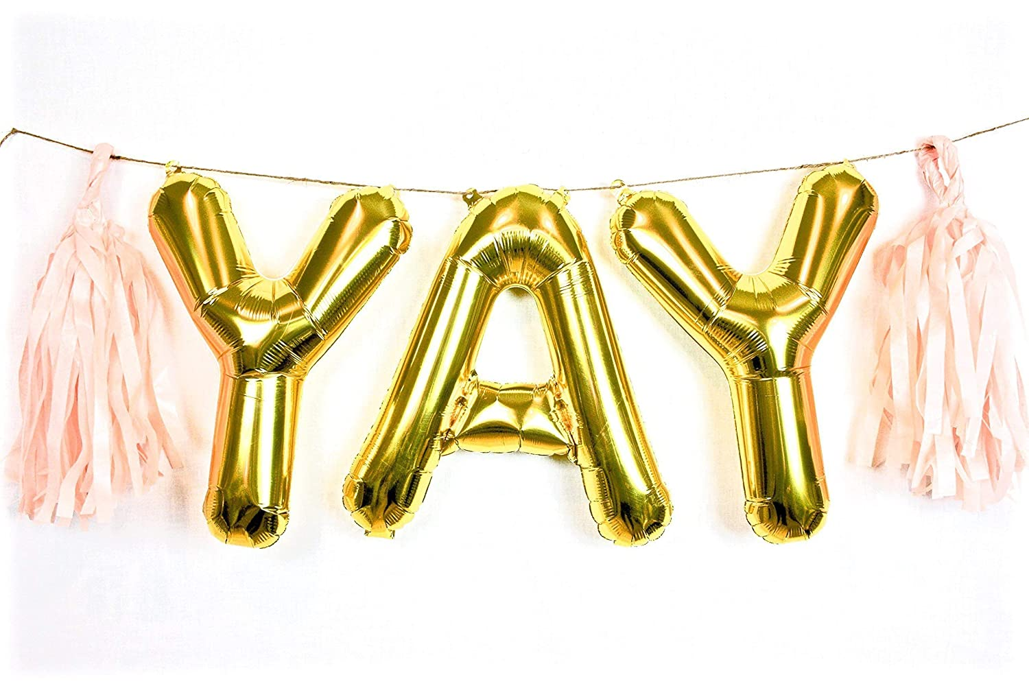 "Amazon.com: YAY 16"" Gold Letter Balloon Banner with Tassels (Reusable):  Handmade"