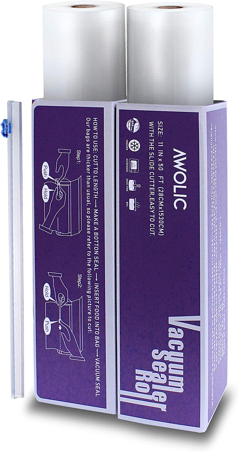 """AWOLIC Vacuum Sealer Rolls with Slide Cutter,2 Rolls(11""""x50' each) BPA Free,Commercial Grade, Heavy Duty, Sous Vide,Food Saver Bags Work on any Clamp External Vacuum System,"""