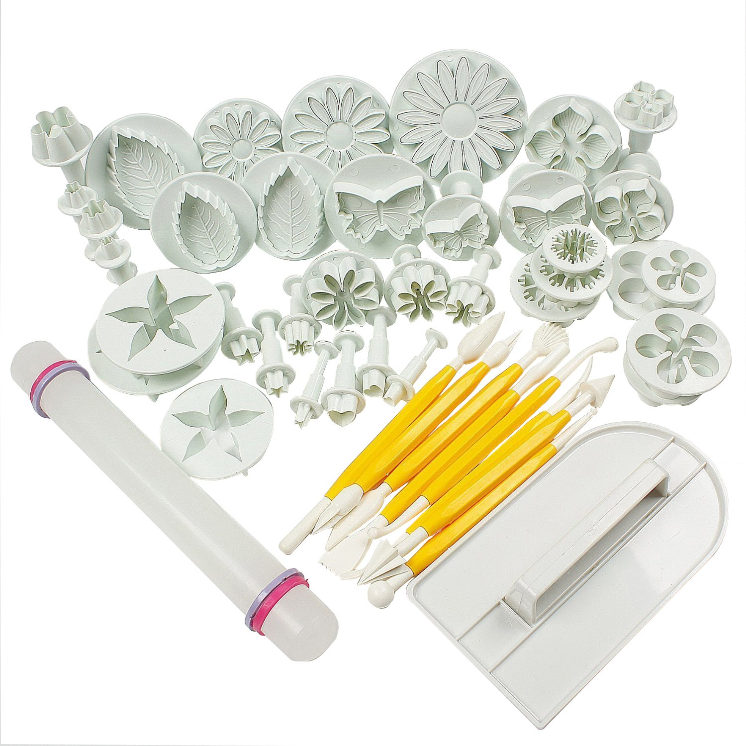 HOSL Cake Tools 14 sets (46pcs) Flower Fondant Cake Sugarcraft Decorating Kit Cookie Mould Icing Plunger Cutter Tool, White by HOSL