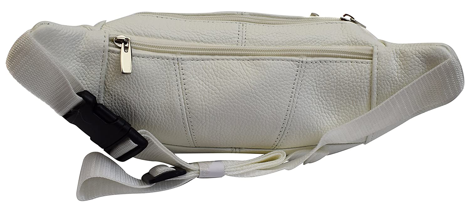 Genuine Cowhide Leather Waist Fanny Pack Pouch 6 Compartments White