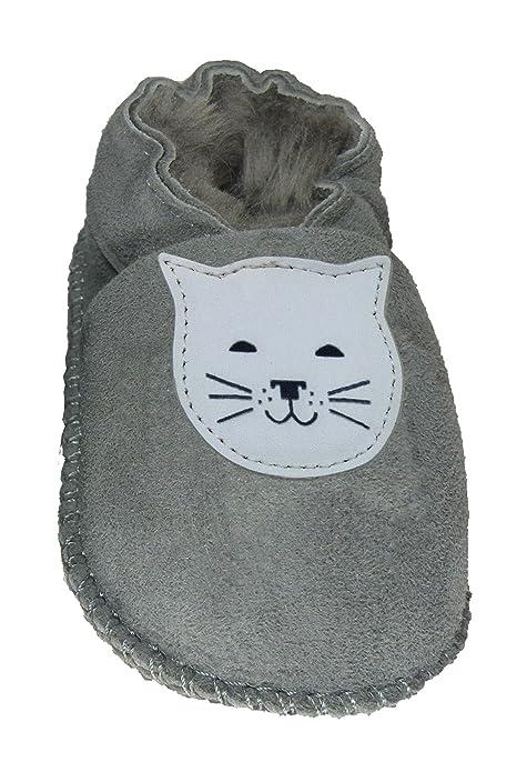 Plateau Tibet - ECHT Lammfell Baby Kinder Schuhe Babyschuhe - Stern weiß, Grau (Gray), Gr. 24-25