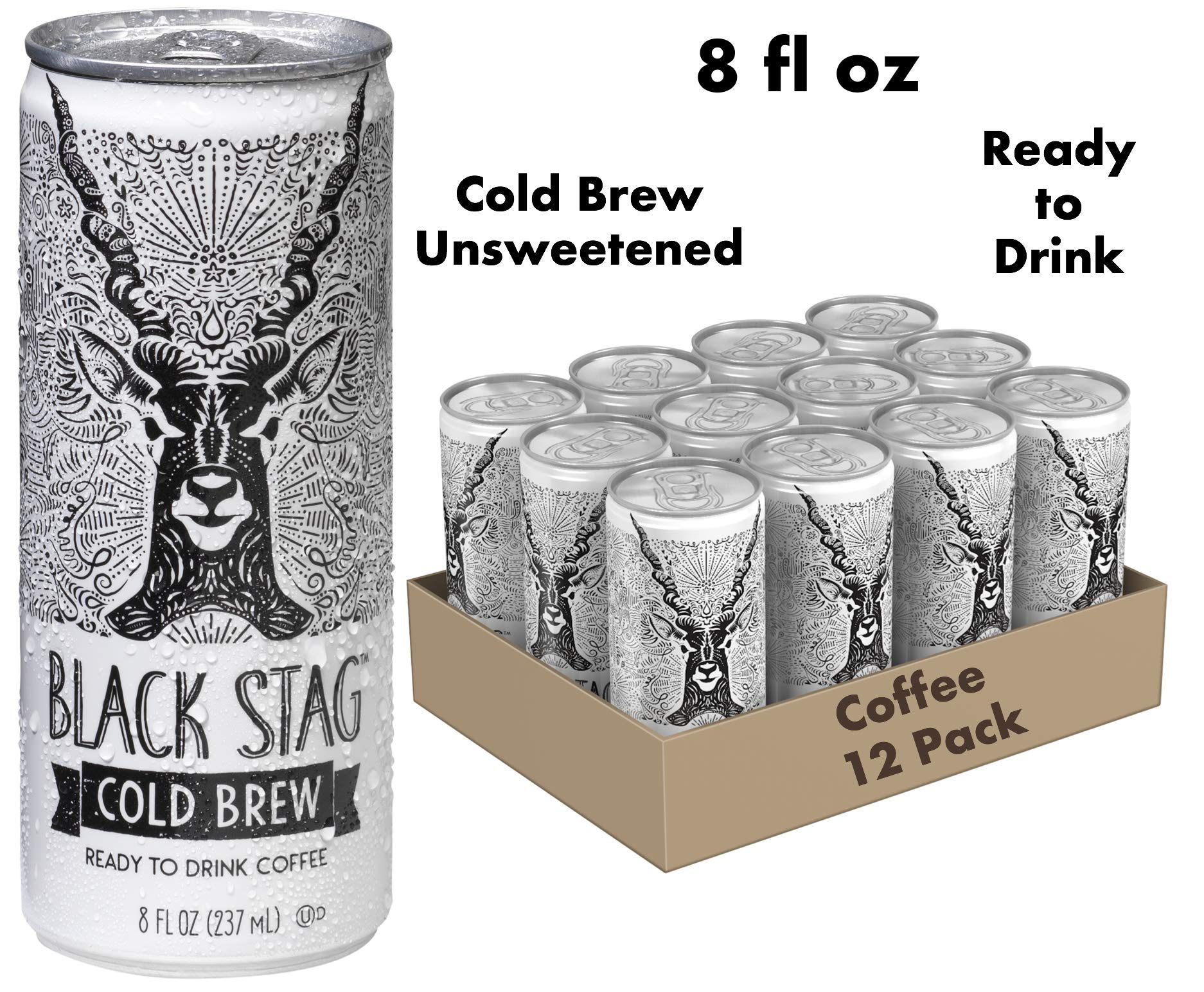 Black Stag Coffee Pre-Made Cold Brew, Black, Ready to Drink, 8 fl oz (Pack of 12)