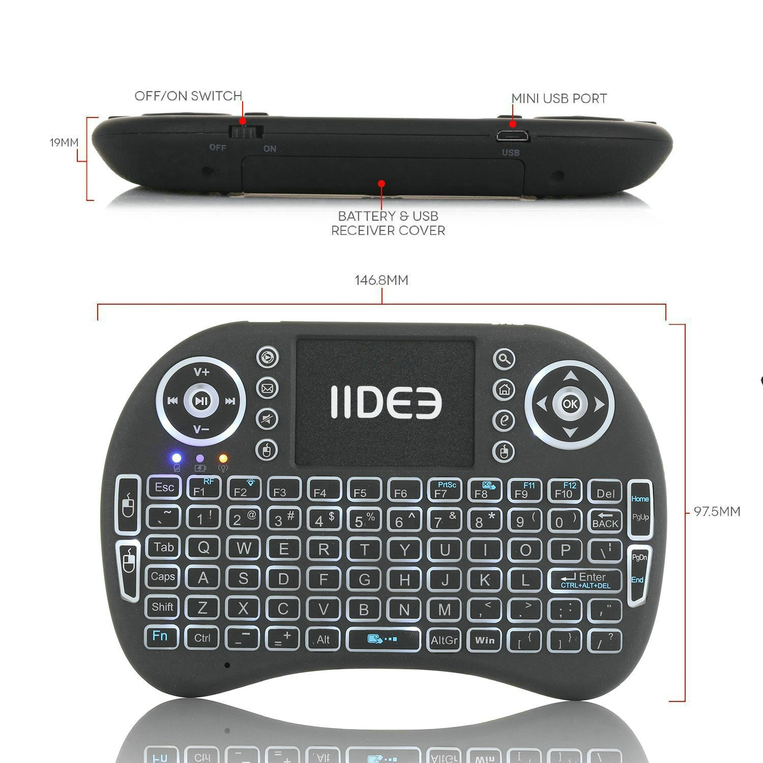 Rii i8 (10038-ID) Mini 2.4GHz Wireless Touchpad Keyboard with Mouse, Black by Rii (Image #3)