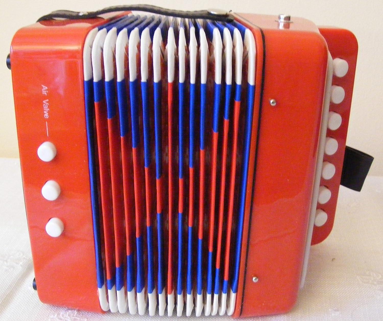 TS-Ideen kleine Kinder Akkordeon ab 3Jahre in Rot mit 7Schlüssel und 2Bass Notizen 6063