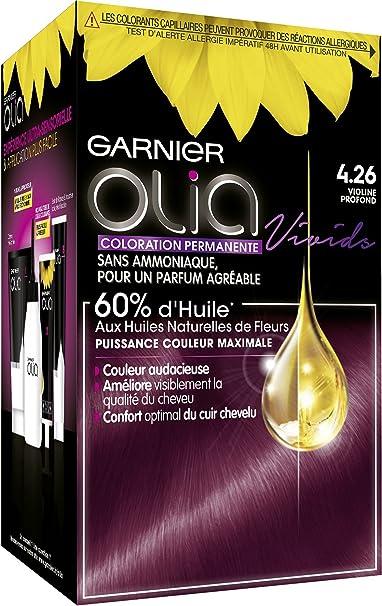 Garnier Coloración permanente, sin amoniaco, con aceites naturales de flores, violina profunda (4.26), Olia Vivids