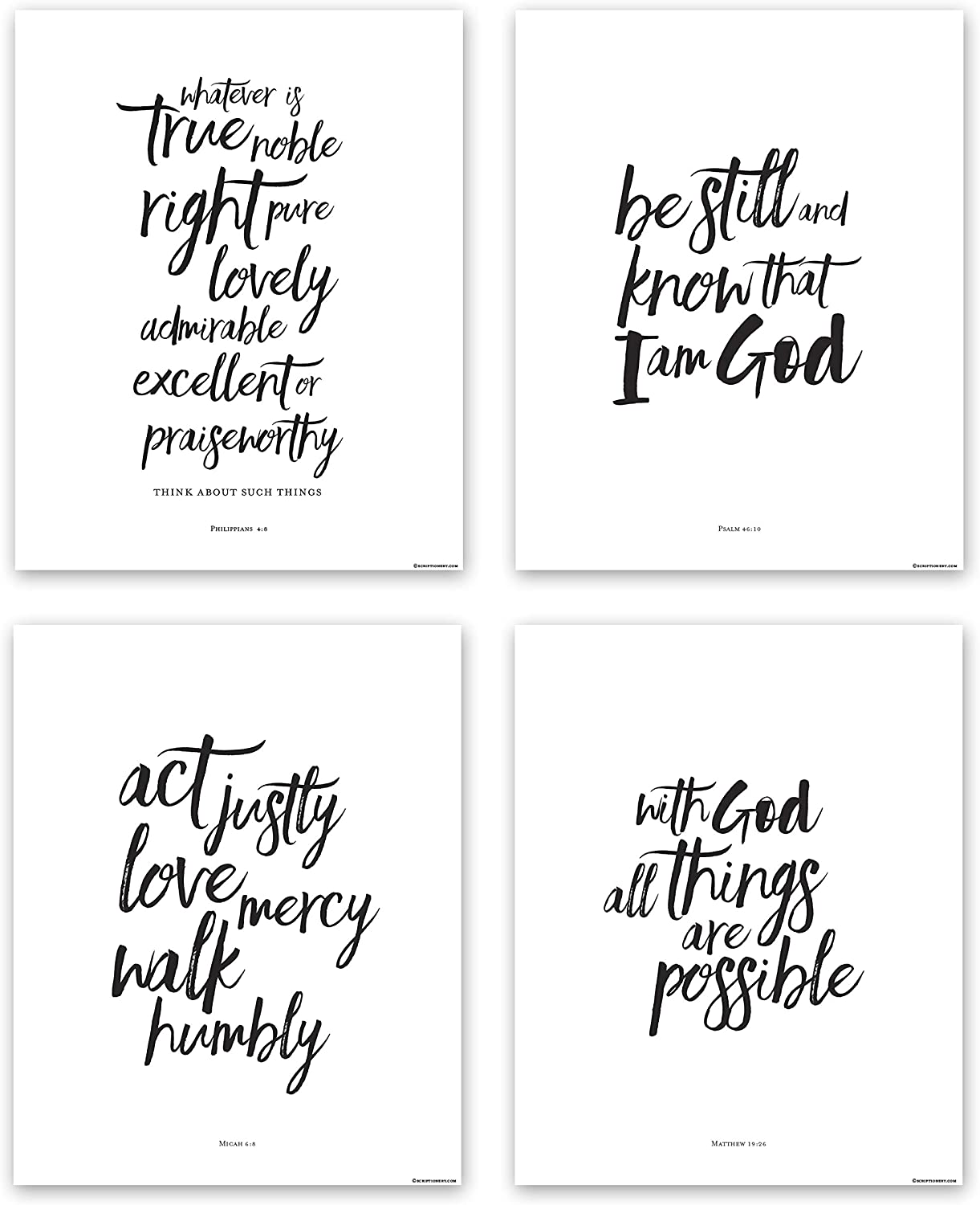 Inspirational Scripture Wall Art - Christian Wall Decor - 8x10 Bible Verse Wall Decor (4 Piece Wall Art Set: Matthew 19 26, Philippians 4 8, Micah 6 8, and Psalm 46 10) (Black & White)