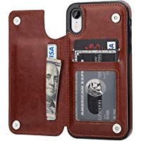 """Capa Case Carteira iPhone XR - Multifuncional 2 em 1 - Porta cartão e case. Tamanho 6.1"""" (iPhone XR Marrom)"""