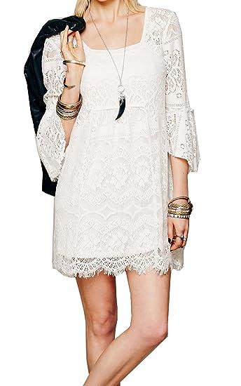a2f0318e1ef3 ACEVOG Women Sexy Lace Floral Crochet Mesh Short Mini Party Evening  Two-Piece Dress
