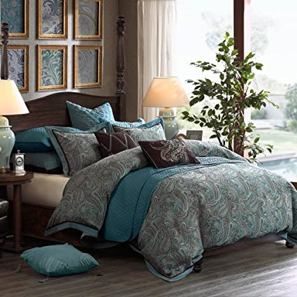 Hampton Hill Lauren King Size Bed Comforter Duvet 2-In-1 Set Bed In A Bag -  Blue, Brown , Luxurious Jacquard Paisley – 9 Piece Bedding Sets – ...