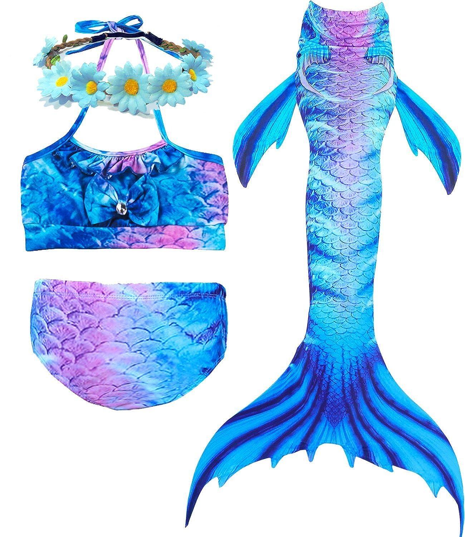 Camlinbo 3 Pcs Mermaid Custume for Girls Bathing Swimsuit Swimwear Princess Sea-Maid Bikini Set