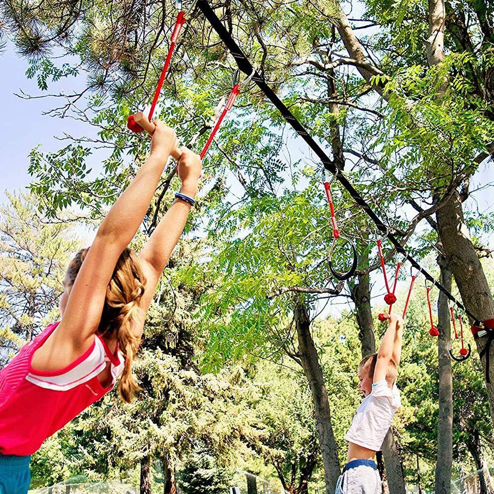 Lembeauty Niños escalando la Cuerda Ninja, Curso de Entrenamiento de obstáculos Ninja Warrior Junior Training Equipment Ninja Line para niños