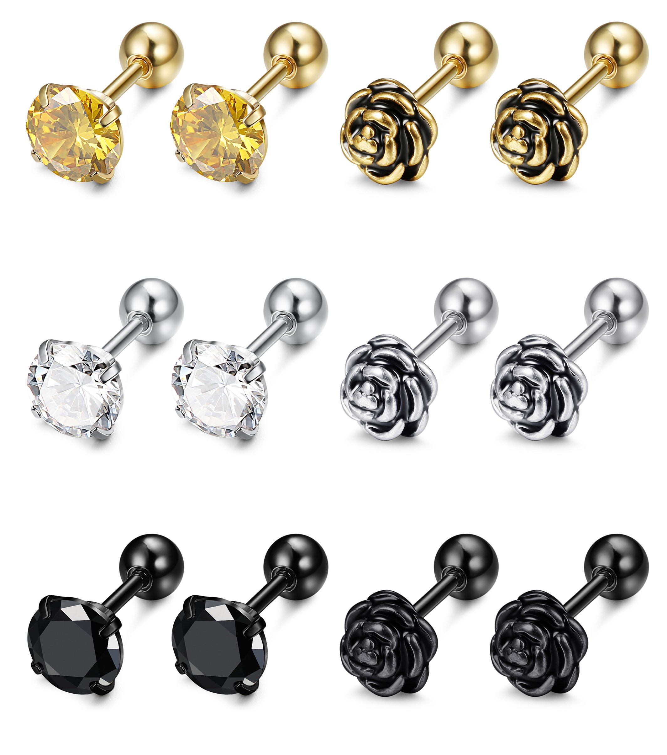 FIBO STEEL 6 Pairs 16G Stainless Steel Flower Cartilage Stud Earrings for Men Women Helix tragus Daith Cartilage Piercing Jewelry