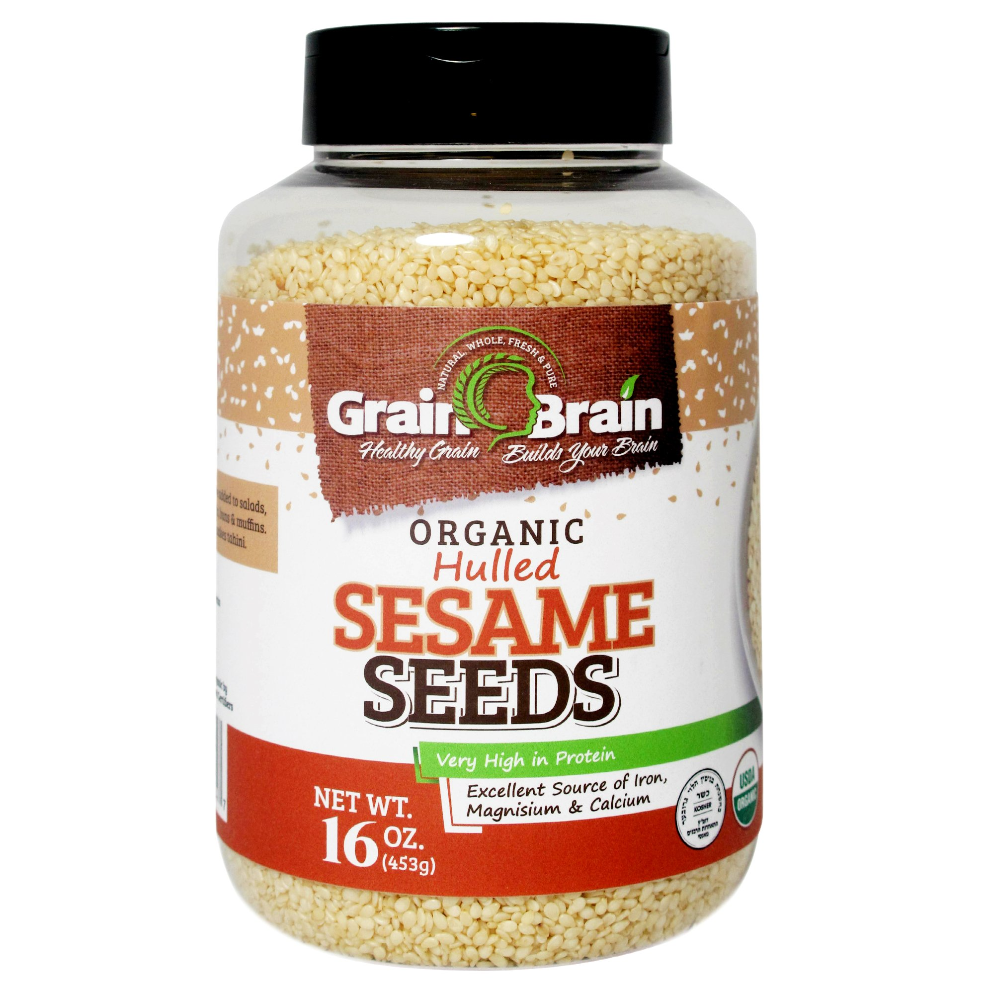 Grain Brain Organic Sesame Seeds (white, Hulled, 16 oz)
