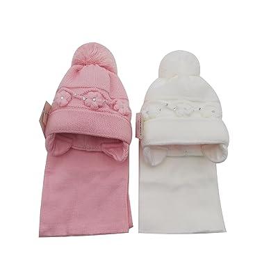 BNWT filles fleur d'hiver chaud & Diamante Bonnet & écharpe rose rose Large to fit 18 months