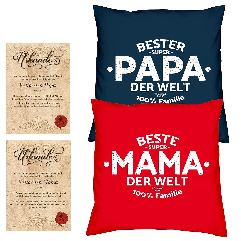 Geschenke Set Weihnachtsgeschenk Mama Papa 2 Sofa Kissen mit Füllung ...