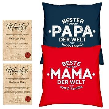 Weihnachtsgeschenke Mama Und Papa.Geschenke Set Weihnachtsgeschenk Mama Papa 2 Sofa Kissen Mit Füllung Beste Mama Der Welt Bester Papa Der Welt Größe 40x40 Cm Dazu 2 Passende