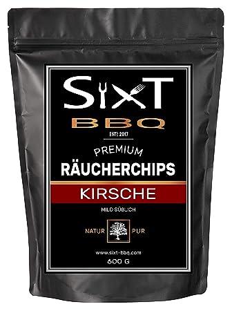 Incienso chips cereza Premium Original de Sixt de BBQ, de virutas de madera para barbacoa
