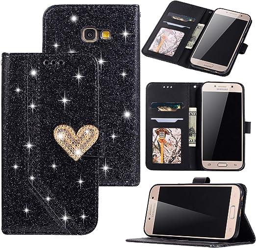 Funda para Samsung Galaxy A5 2017 Glitter Estuche Flip Tapa Libro Carcasa PU Piel Protector Estuches Funda Wallet Cierre de Soporte Magnético Diseño de Hebilla de Diamante en Forma de corazón,Negro: Amazon.es: