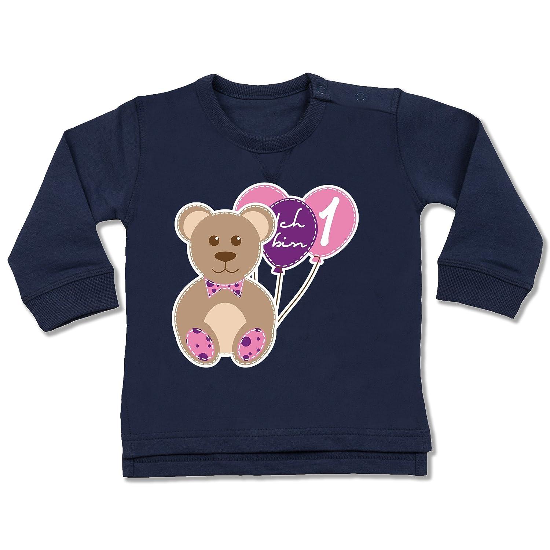 Geburtstag Baby - Ich Bin 1 Mädchen Bär Luftballons Erster - Baby Pullover Shirtracer BZ31