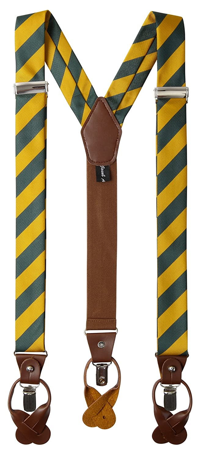 Jacob Alexander Men's College Stripe Y-Back Suspenders Braces Convertible Leather Ends and Clips SUPCS006