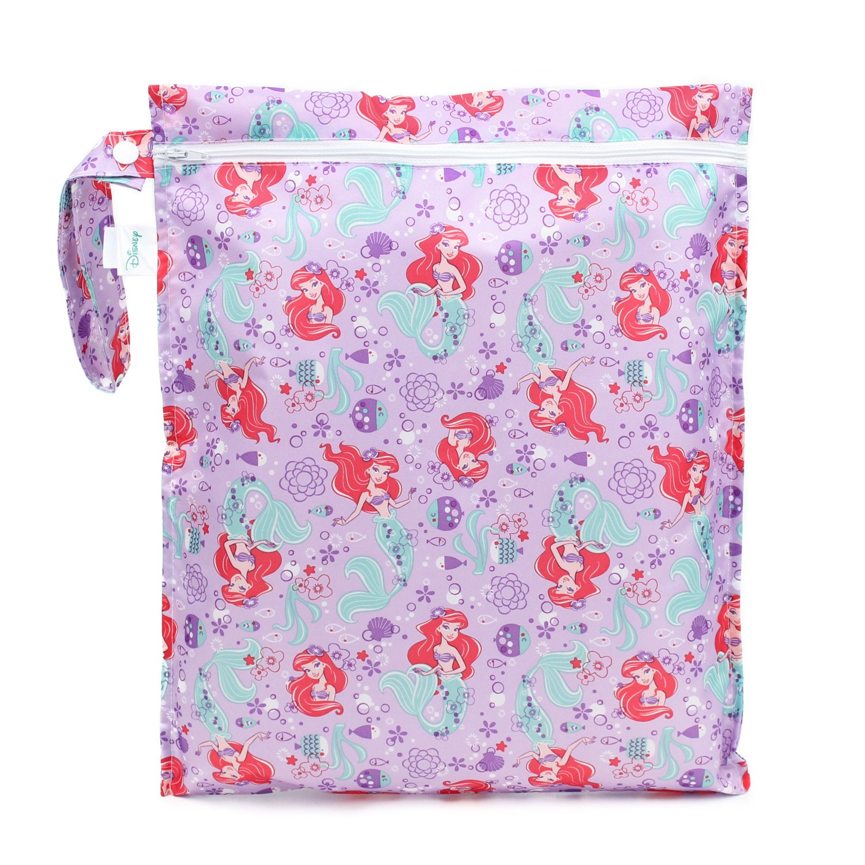 Bumkins Disney Ariel Waterproof Wet Bag, Washable, Reusable for Travel, Beach, Pool, Stroller, Diapers