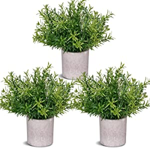 COCOBOO 3 Pack Mini Fake Potted Plants for Living Room Farmhouse Office Bathroom Decor, Small Artificial Desk Plants Plastic Bamboo Leaves