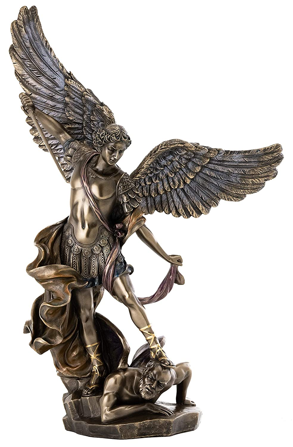 Top Collection Archangel St. Michael Statue Fighting Evil Satan Demon- Saint Miguel Peace and Justice Sculpture Defeating Lucy in Premium Cold Cast Bronze-10.5-Inch Collectible Ancient Roman Figurine