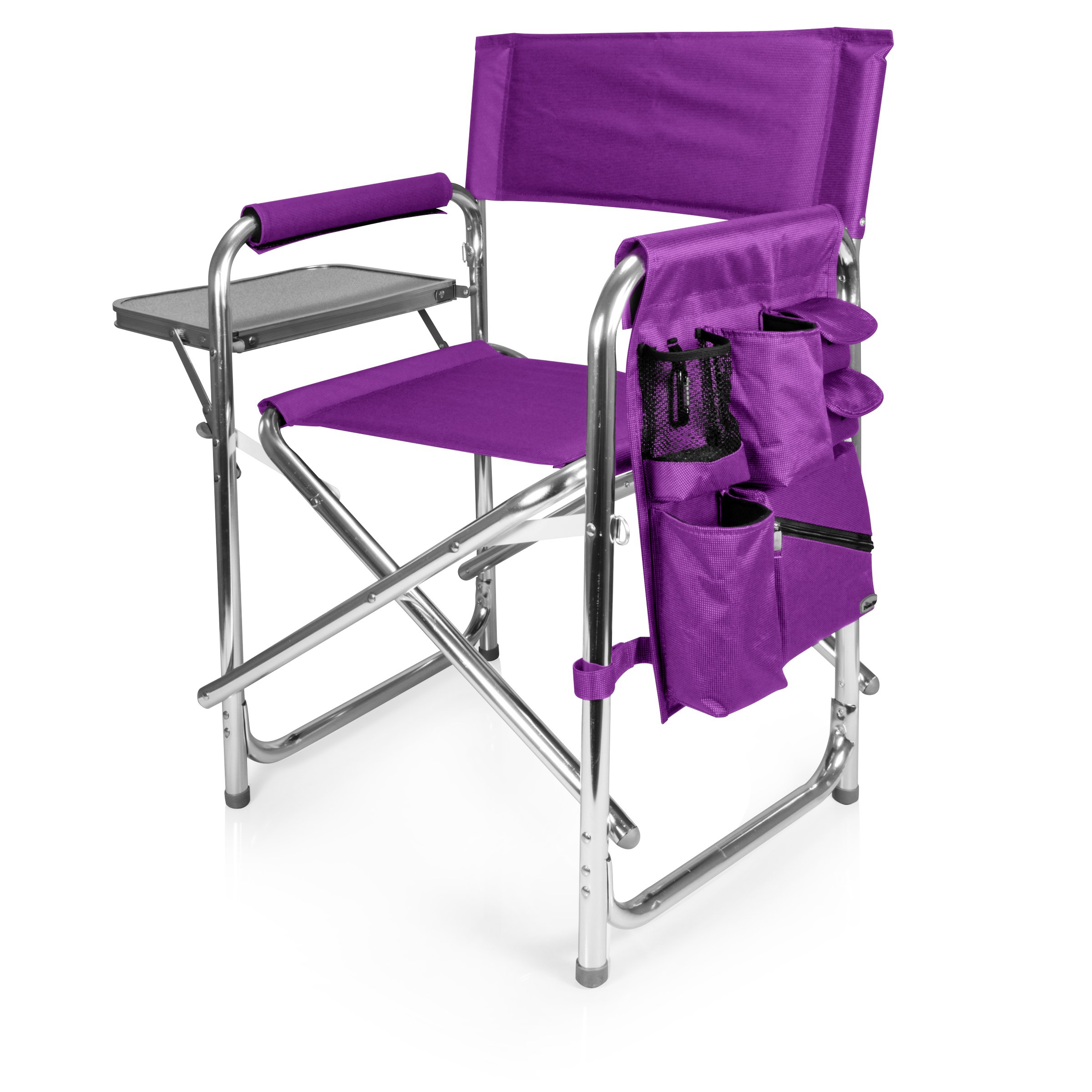 Personalized Embroidered Sports Director Chair with Side Table and Pocket- Black by Picnic Time