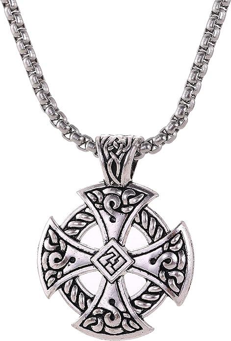 VIKING Vegv\u00edsir Heathen ROSE QUARTZ Necklace Talisman Charm necklace includes silver link chain
