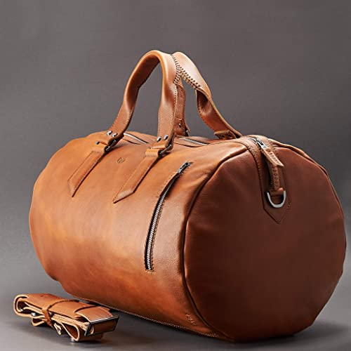 3b38f4c84296be Amazon.com: Capra Leather Duffle Bag 25L for Men, Tan Brown Shoulder Travel  Weekender, Gym Sports Carry On, Handmade Overnight Clothes Holdall.