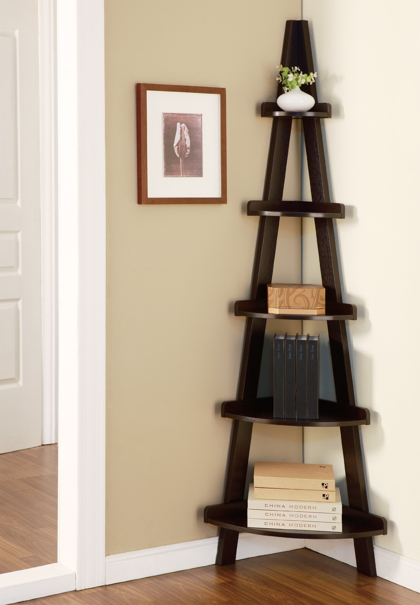 HOMES: Inside + Out ioHOMES Hector 5-Shelf Corner Display Stand, Cappuccino Finish