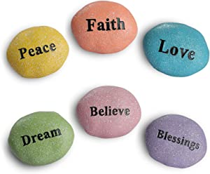 Giftchy Garden Stones Set of 6, Inspirational Resin Rock with Words, Meditation Stones, Gift Rocks with Words of Peace ,Faith,Love,Believe,Dream&Blessings, Resin Garden Decorations for Outside, 3.25