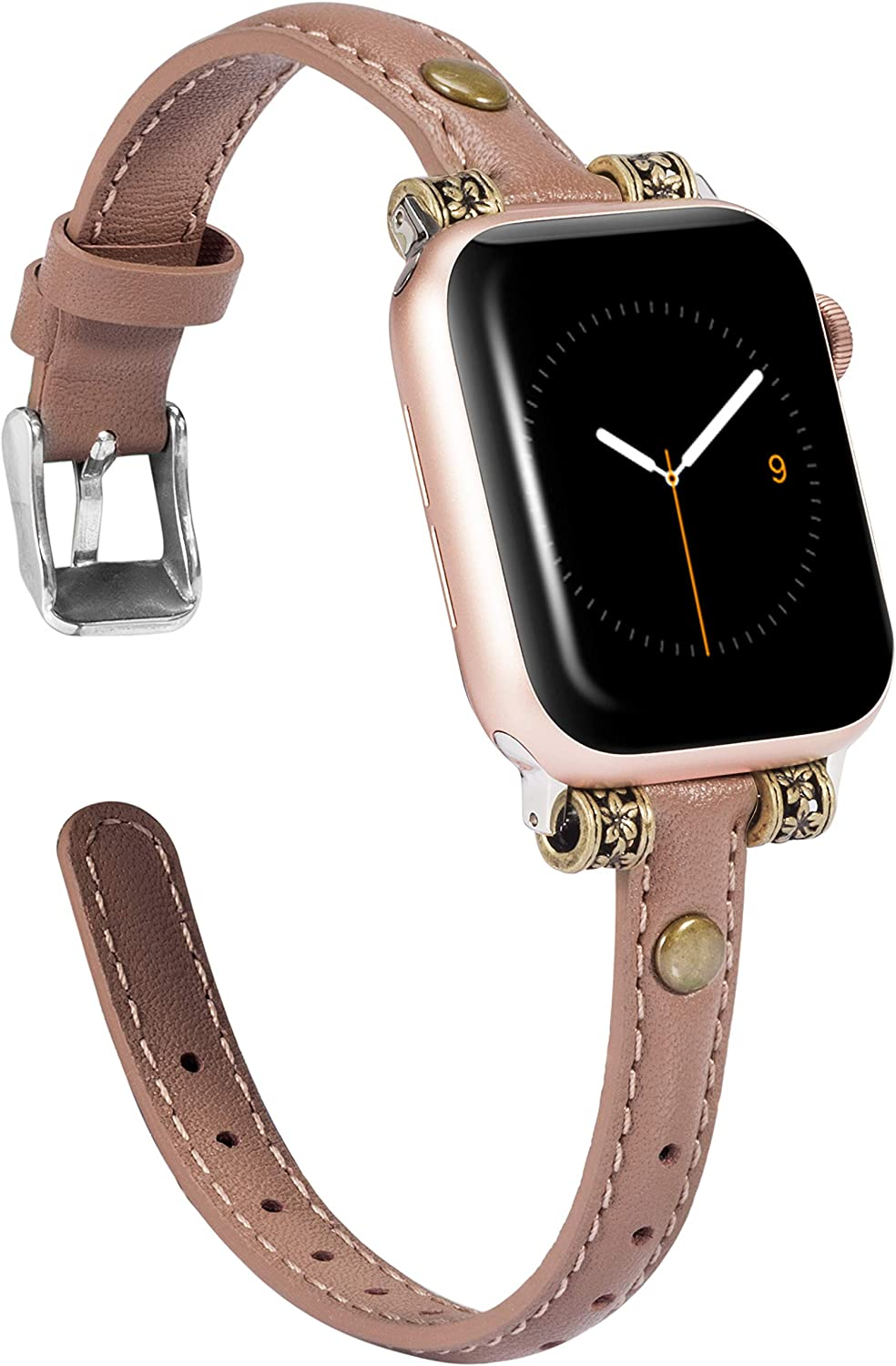 Wearlizer Leather Bands Compatible with Apple Watch Band 42mm 44mm for iWatch Womens Mens Special Slim Vintage Wristband Replacement Strap SE Series 6 5 4 3 2 1 Edition - Tan