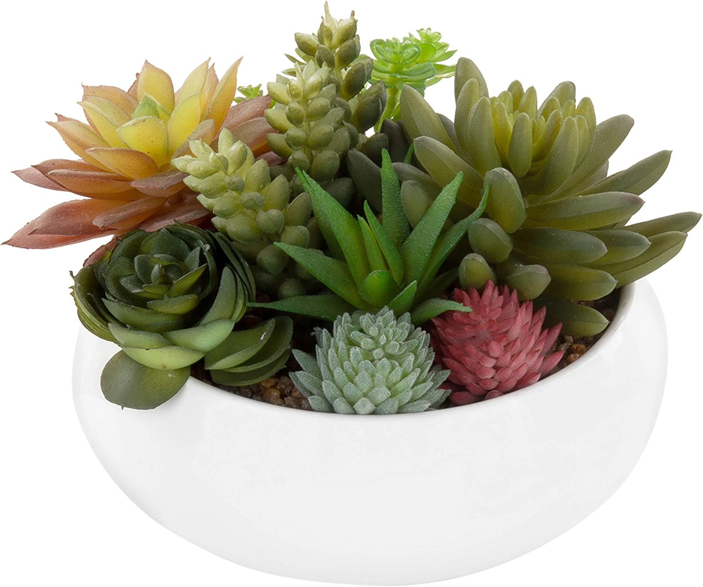 MyGift 7-Inch Faux Potted Succulents/Artificial Plant Arrangement in White Ceramic Planter Bowl