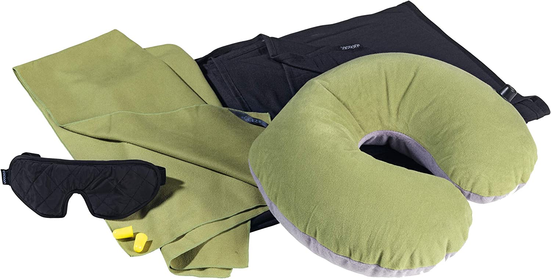 Cocoon 6 Piece Travel Set with Pillow Ultralight green//black pillow