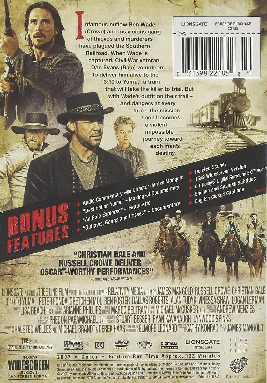 Amazon.com: 3:10 to Yuma (Widescreen Edition): Russell Crowe, Christian Bale, Logan Lerman, Dallas Roberts, Ben Foster, Peter Fonda, Vinessa Shaw, ...