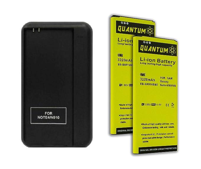 2 x Baterías Quantum para Samsung Galaxy Note 4 + Cargador de Pared USB, 3220
