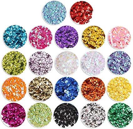 Crafare 4mm Loose Cup Sequins 24Colors 22000PCS Rainbow Sequin Bulk Iridescent Spangles Craft for Home Holiday DIY Arts Crafts