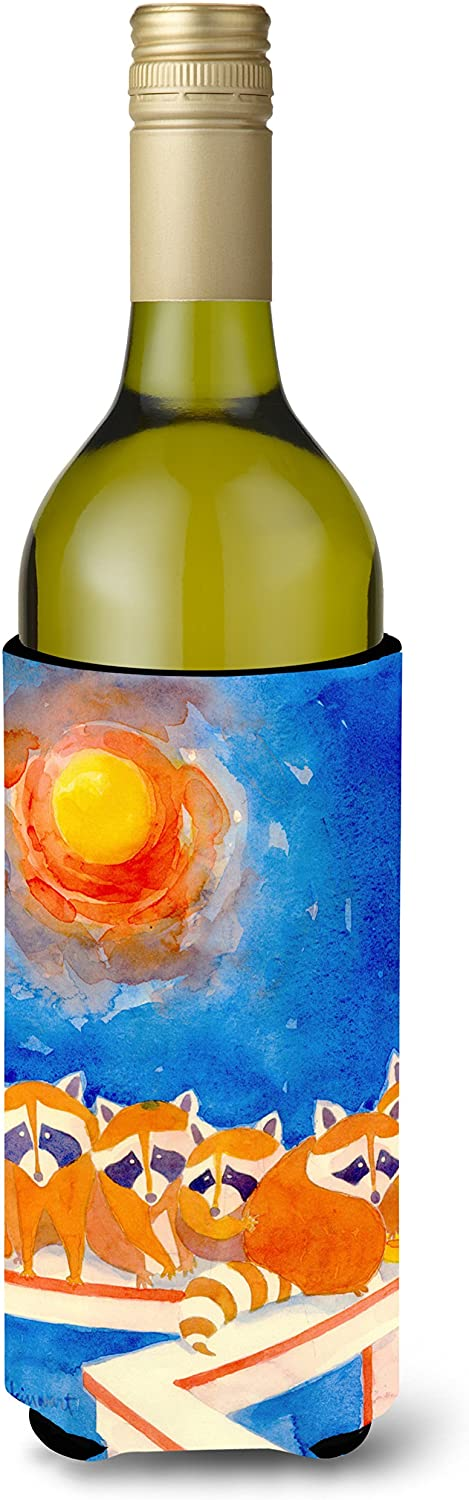 Caroline's Treasures 6009LITERK Raccoons on the railing Wine Bottle Beverage Insulator Beverage Insulator Hugger, Wine Bottle, multicolor