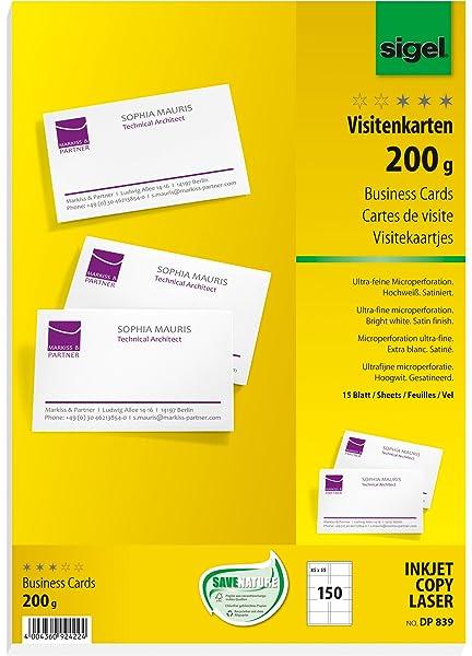 Sigel Dp830 Visitenkarten Hochweiß 150 Stück 15 Blatt