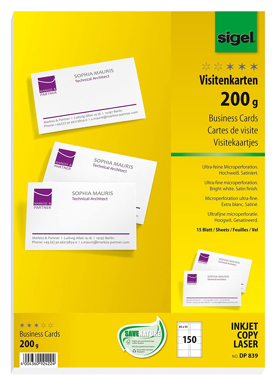 Sigel DP839 business cards, microperforated, white, 200 gsm, 150 pcs ...