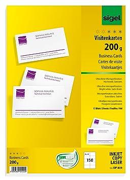 Sigel DP839 150 Cartes De Visite Prdcoupes 85 X 55 Cm
