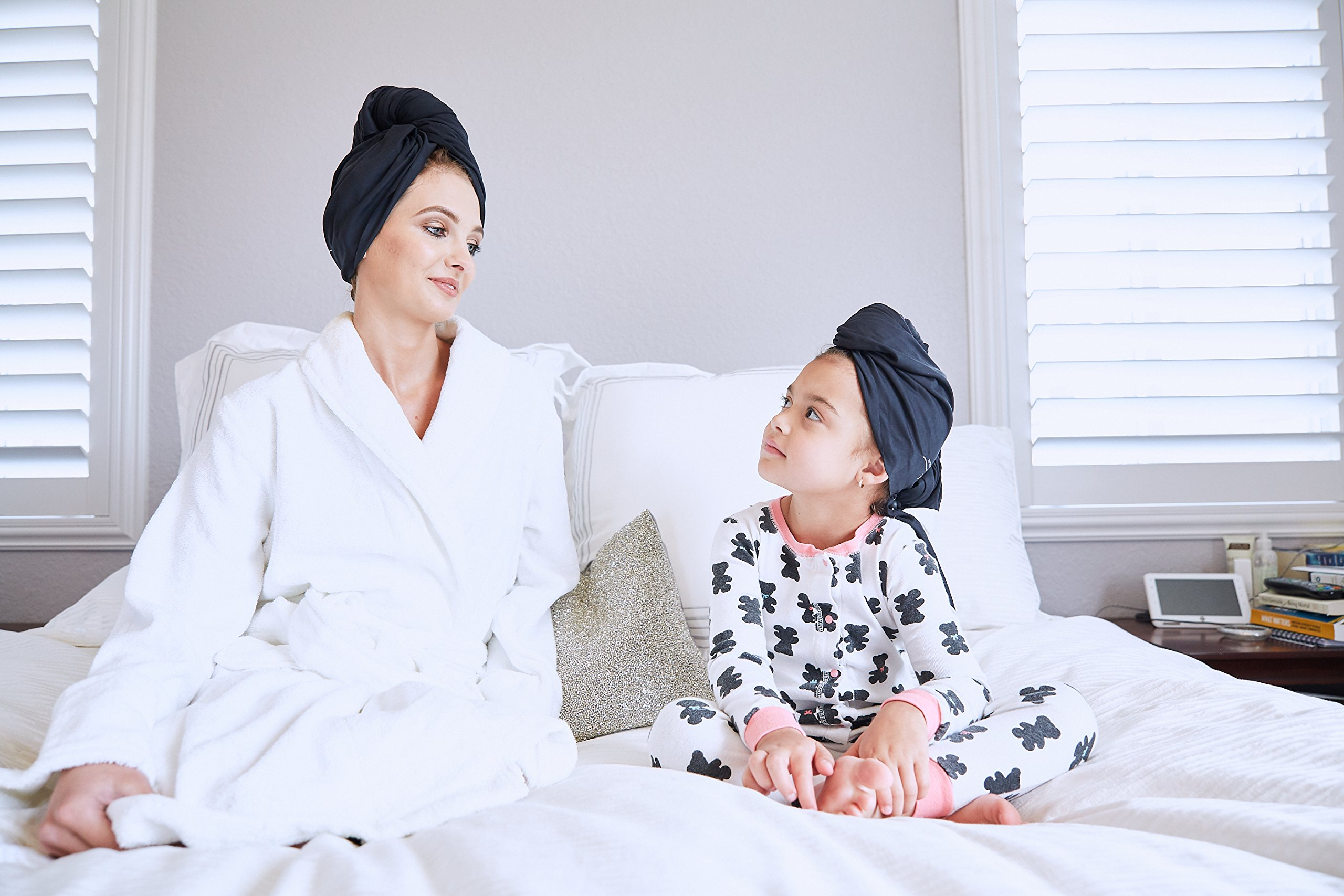 The Perfect Microfiber Hair Towel Wrap - Absorbent Turban for Fast, Anti-Frizz Drying - Never Falls Off Curly or Straight Hair - (38.5''x27.5'') Includes Wet or Dry Detangling Brush (Black) by The Perfect Haircare (Image #5)