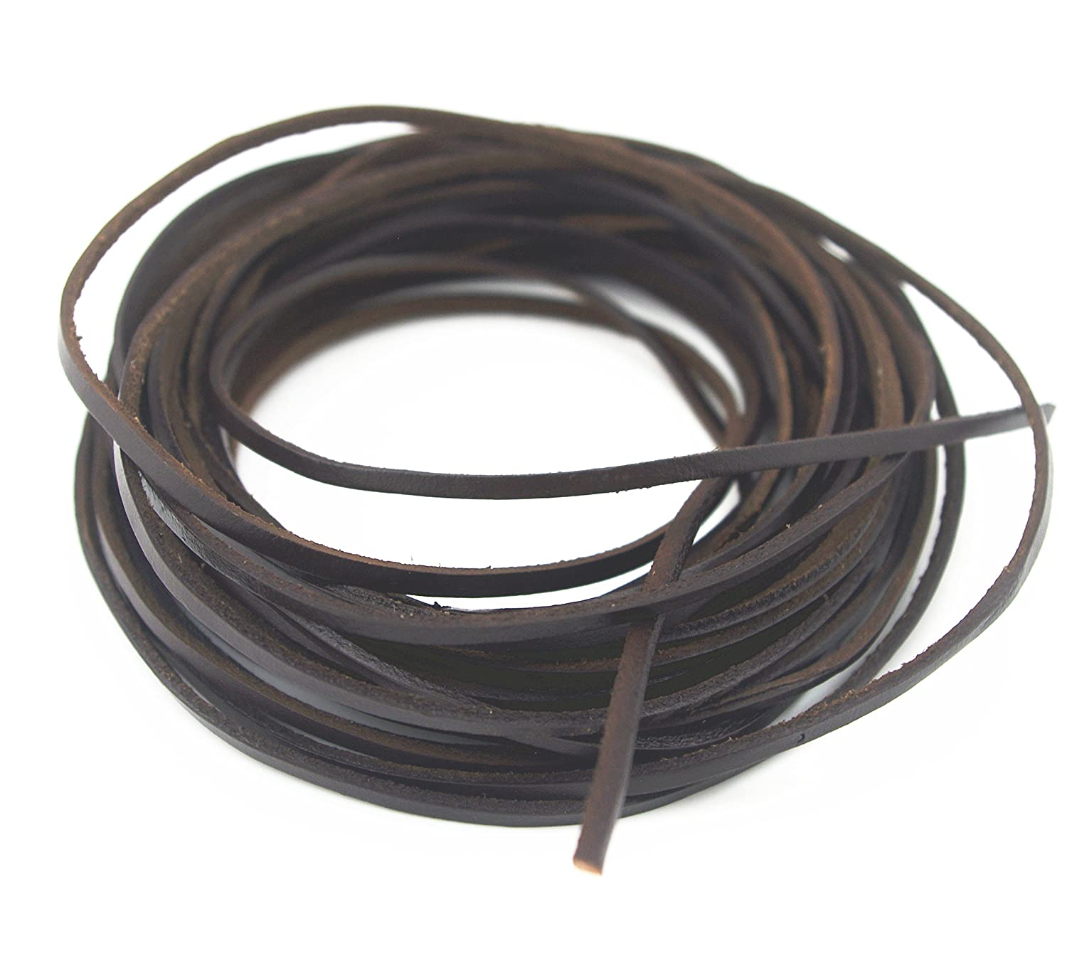 Dark Brown, 10 Yards Glory Qin 3x2 mm Genuine Cow Hide Flat Leather Srip,Genuine Leather Cord Real Leather Craft for Jewelry Making LeatherRush