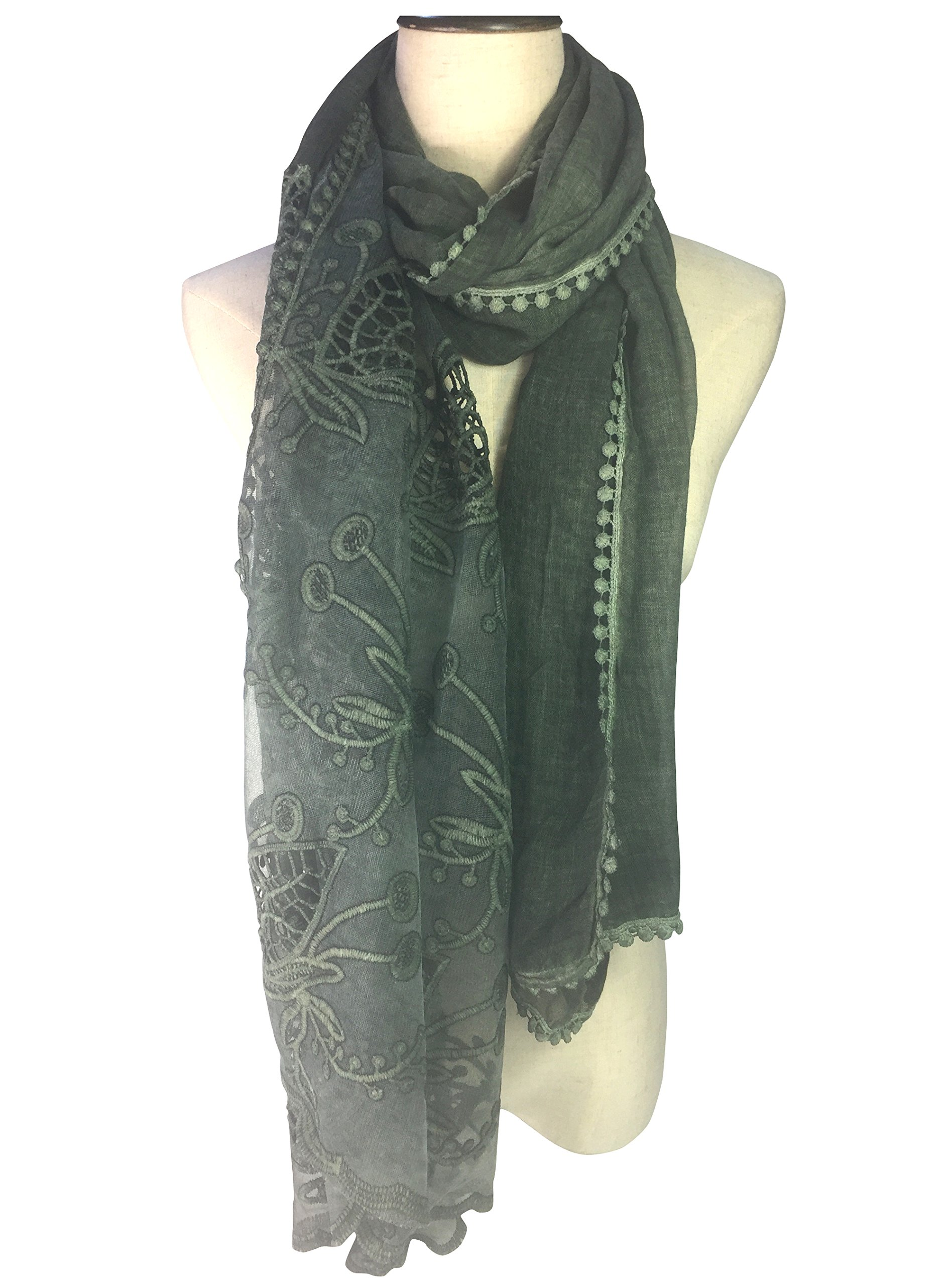 YOUR SMILE Women Lace Stylish Warm Blanket Scarf Gorgeous Wrap Shawl (blackish green)