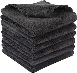 KinHwa Dish Cloths for Washing Dishes Ultra Absorbent Microfiber Dish Rag Super Soft Kitchen Wash Cloth Easy Cleaning Household Cloth 9.8Inchx9.8Inch Dark Grey 6 Pack