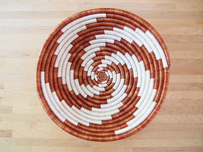 African Basket / Rwanda Basket / Woven Bowl / Sisal & Sweetgrass Basket / Burnt Orange, White